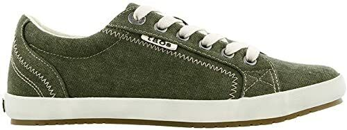 Taos Footwear Star Women Olive Wash Canvas with Synthetic Sole Shoes US 6.5 B(M)