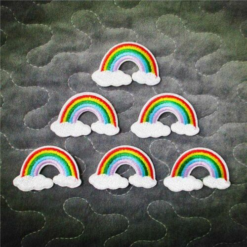 2 Self-adhesive rainbow patches applique iron on sew on motif sew embelli Gift