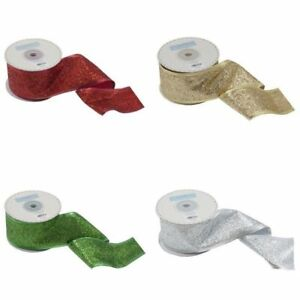 Wire-Edge-Glitter-Ribbon-50mm-Wide-Gold-Red-Silver-Green-Multibuy-amp-Free-Post