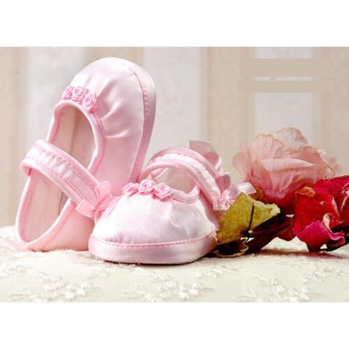 118 satin baptême des chaussons de bébé fille blanc Ballerines mariage rose Taufschuhe