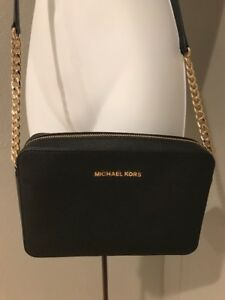 on sale colours and striking choose newest Details about Ladies Michael Kors PVC Leather Jet Set Crossbody Purse  Black. Gold Chain NWOT