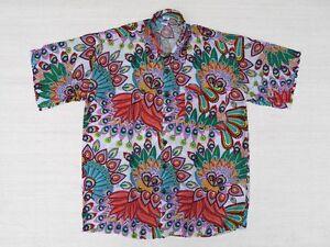 Hawaiihemd-Hawaii-Hawai-Hemd-weiss-Pfauenfedern-orange-gruen