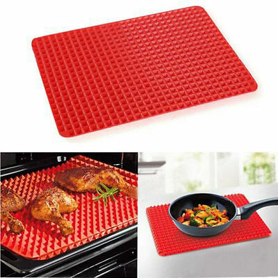 395*285MM Non Stick Fat Reducing Silicone Cooking Mat Oven Baking Tray Sheets FE
