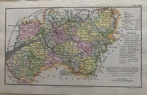 1808 Gloucestershire ORIGINALE COLORATO A MANO ANTICO MAPPA Contea 212 anni
