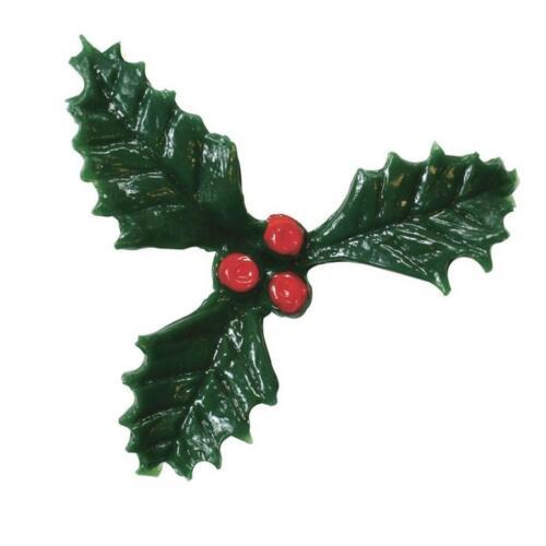 Petit 3 feuille de houx et baies sur PICK 25 mm Christmas cake topper decoration