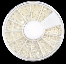 Lots Elegant White Round Pearl Wheel Case Nail Art Decoration DIY Craft NEW