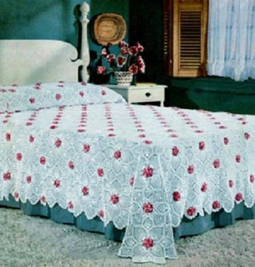 Vintage Crochet Pattern Rose and Pineapple Bedspread motif PATTERN ONLY