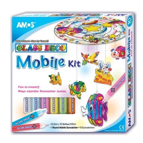NEW AMOS Suncatcher Mobile Art Paints Craft Kit - 10 Colours 9 Suncatcher Shapes