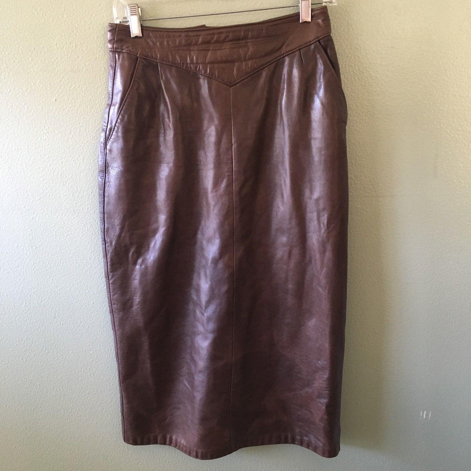Vintage dita martin design skirt 10 brown leather vtg pencil - size 10