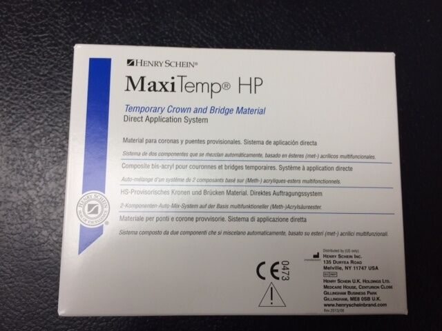 Henry Schein MaxiTemp HP Temporary Crown & Bridge, equivalent to Luxatemp A3