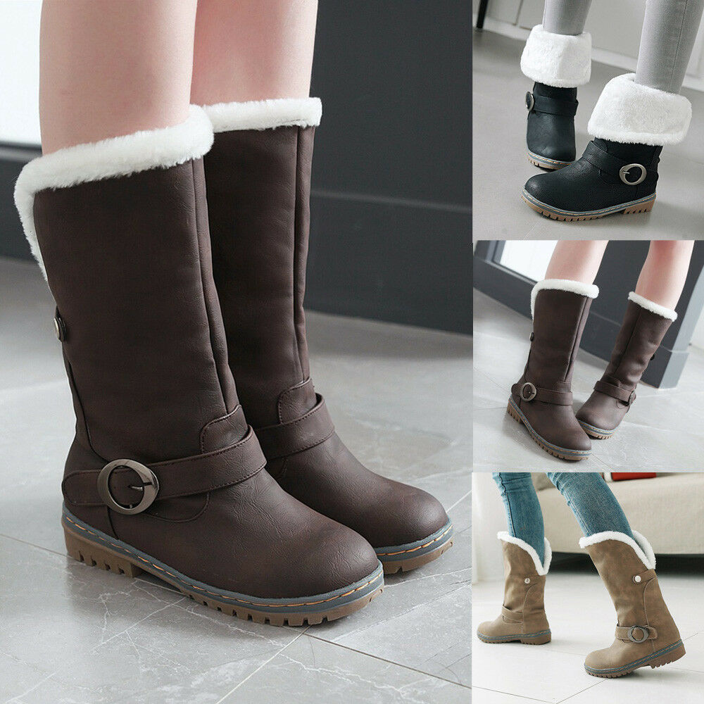 Winter Women Ladies Warm Snow Boots Suede Martin Boots Shoes Buckle Strap Boots