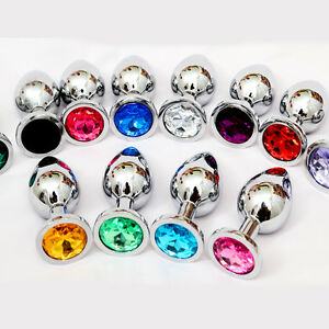 Jewelled-Plug-Party-Role-Play-Butt-Anal-Beads-Sex-Toy-Chrome-Stone-UK-Seller-a