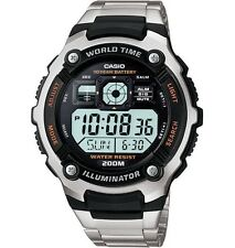 Casio AE-2000W Stainless Steel Band World Time Light Day/Date Men's Watch