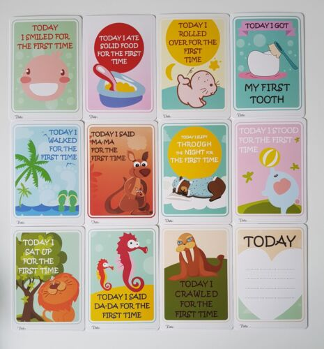 BABY MILESTONE CARDS Memories Special Moments Baby Shower Gift New Baby FIRSTS