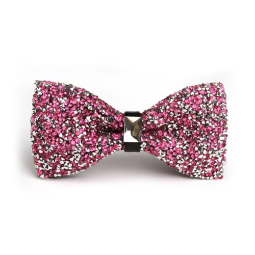 Men Adjustable Glitter Rhinestone Bowtie Sparkle Tuxedo Pre Tied Bow Tie 13US
