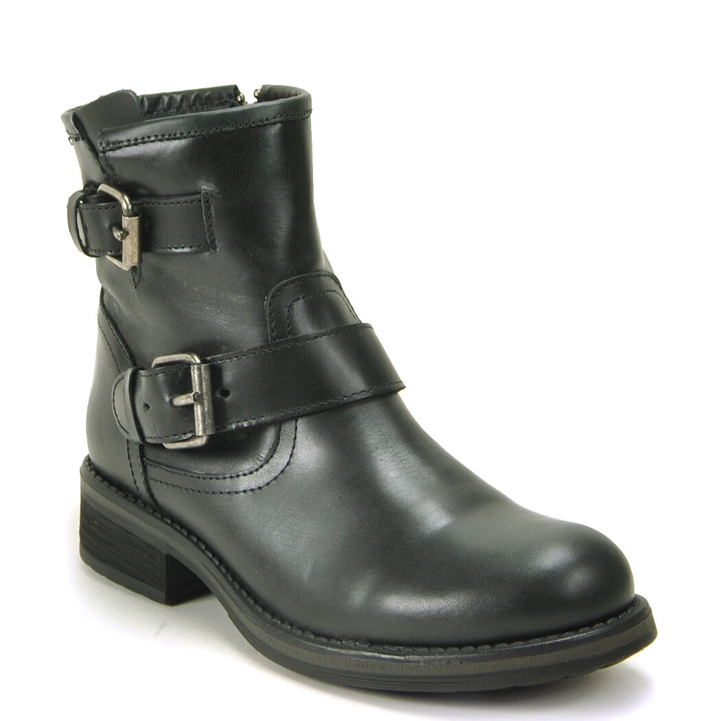 NEW STEVE MADDEN BLACK LEATHER DAMIANN ENGINEER BUCKLE ANKLE BOOTS Schuhe SZ 11