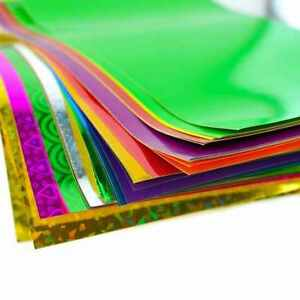 A4-Adhesive-Craft-Paper-Peel-amp-Stick-Coloured-Holographic-Metallic-Art-Sheet