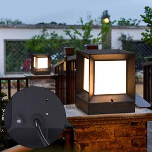 Details about  /Aluminum Outdoor Garden Post Pillar Lamp Square Fence Light Landscape Lamp Black