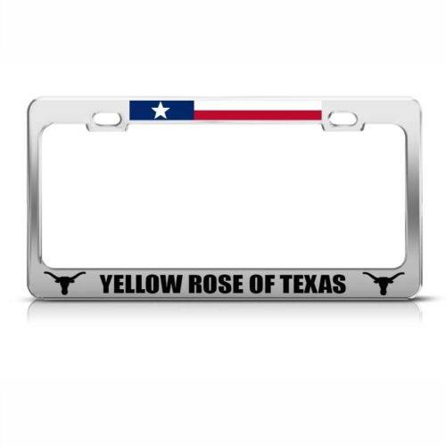 Yellow Rose Of Texas Chome Metal License Plate Frame Tag Holder