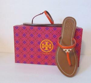 a6f04711f4a52e Tory Burch T Logo flat thong poppy orange red leather sandal 8.5 ...