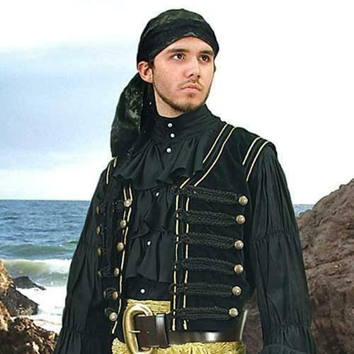 RENAISSANCE GOTHIC PIRATE BUCCANEER Mens Black Cotton Velvet VEST S//M L//XL New