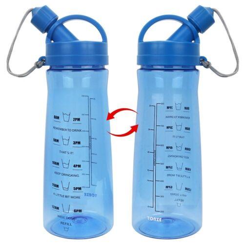 2x Motivational Fitness Workout Sports Water Bottle w// Time Markings BPA Free 1L
