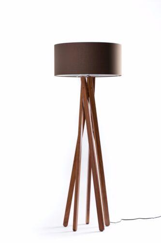 Design Stehlampe Tripod Leuchte Holz Nussbaum H=160cm Stativ Stehleuchte Braun