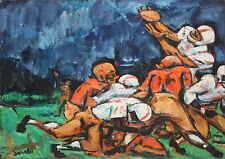 MERVIN JULES-WPA MA/NY/MD Modernist-Original Signed Oil-Football Players