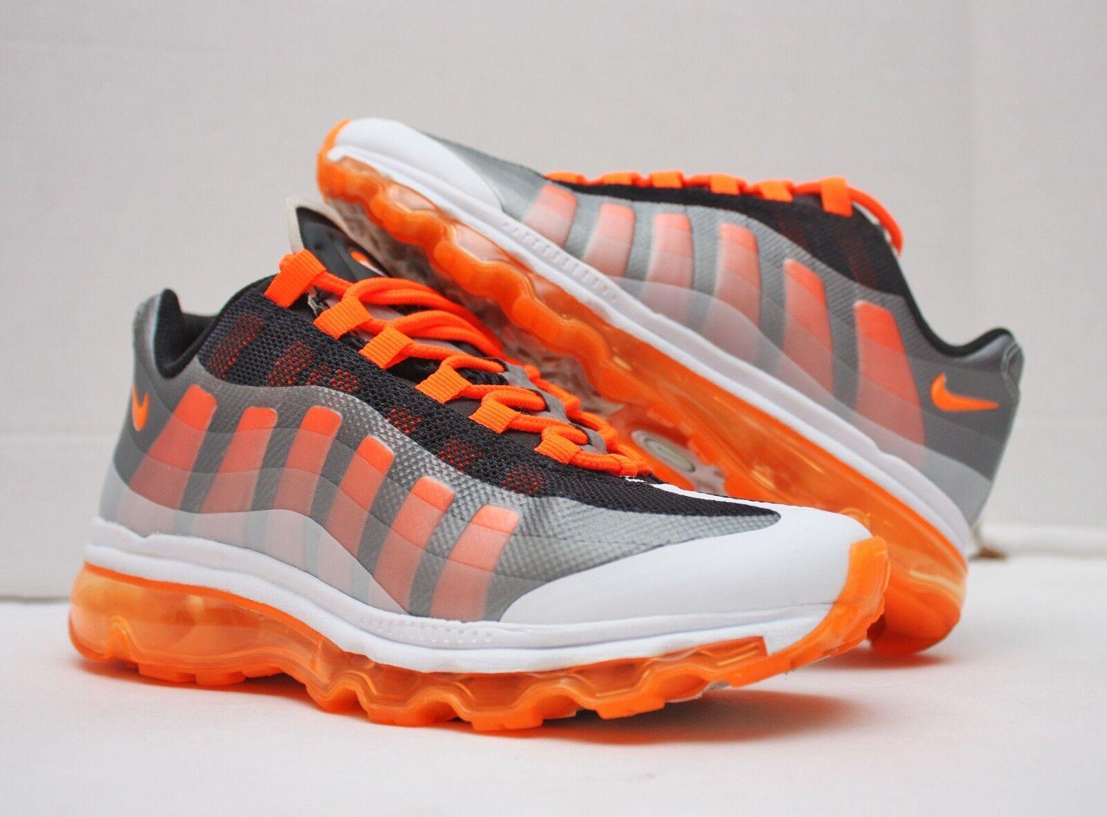 2012 Nike Air Max 95 + Plus BB Storlek 4Y - Vit Orange Silver - 512169 007