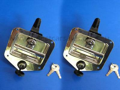 2x Folding T Handle Lock - Tool Box Trailer Drawer Truck recessed stainless stee