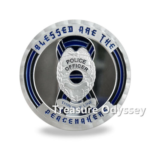 US Police Challenge Coin A Thin Blue Line Crime Punisher Reaper Featured Coin