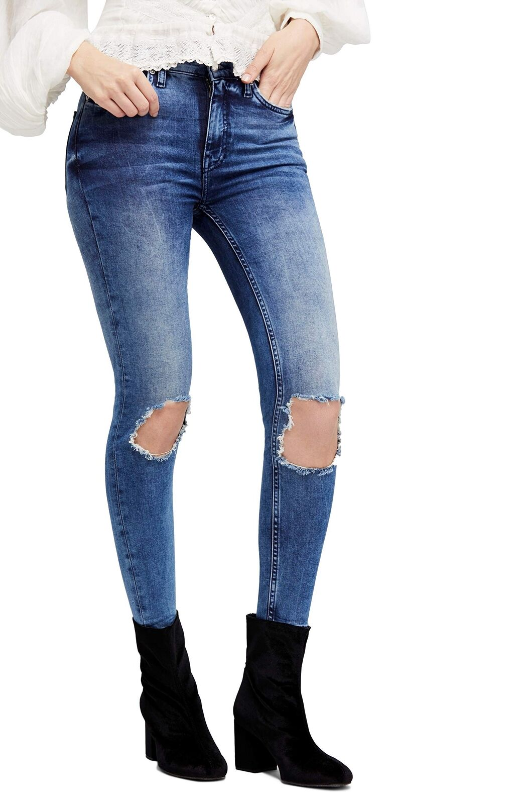 Free People Women's High Rise Busted Knee Skinny Jeans - Long Length (Turquoi...