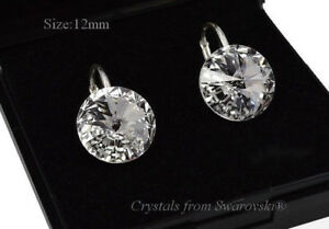 Image Is Loading 925 Sterling Silver Earrings Crystal Clear Rivoli Crystals