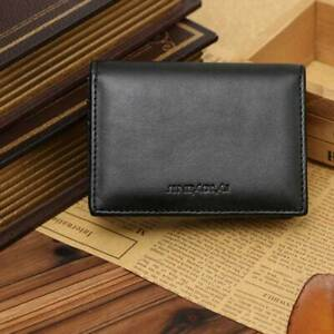 New-Black-Leather-Men-039-s-Small-RFID-Slim-Bifold-Wallet-Credit-Card-ID-Holder