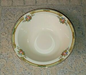 "Taylor Smith Taylor TST11 8"" Round Vegetable Bowl Floral Bouquets Yellow Band EX"