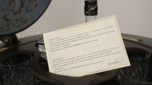 certificado de autenticidad Globo bar Bebidas armario AZUL HECHO EN ITALIA CON