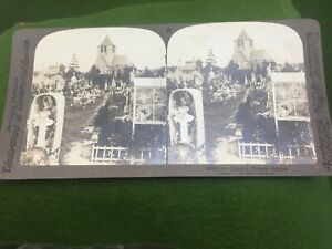1894-Underwood-Real-Photo-Stereoview-The-Cemetery-at-Brussels-Belgium-Death-SV