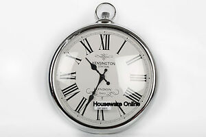 Large-42cm-Round-Silver-Roman-Numeral-Pocket-Watch-Kensington-Station-Wall-Clock