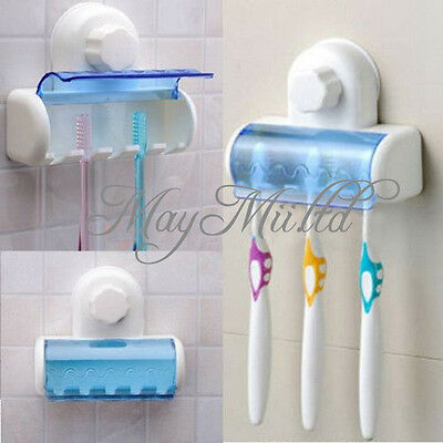 Plastic 5 Set Toothbrush Spinbrush Holder Suction Stand Bathroom Accessory BG