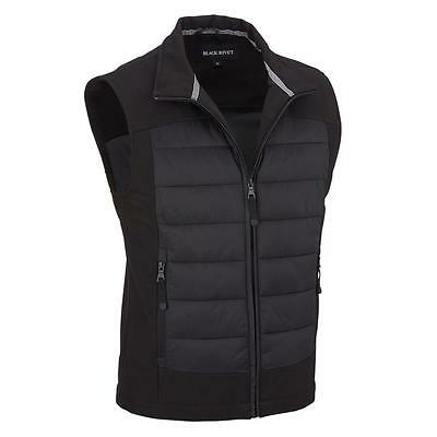 Black Rivet Mens Quilted Mixed Media Stand Collar Vest