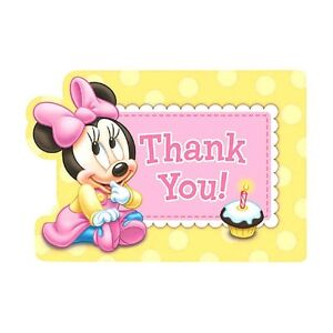 8 baby minnie mouse childrens 1st birthday party thank you cards image is loading 8 baby minnie mouse childrens 1st birthday party bookmarktalkfo Image collections
