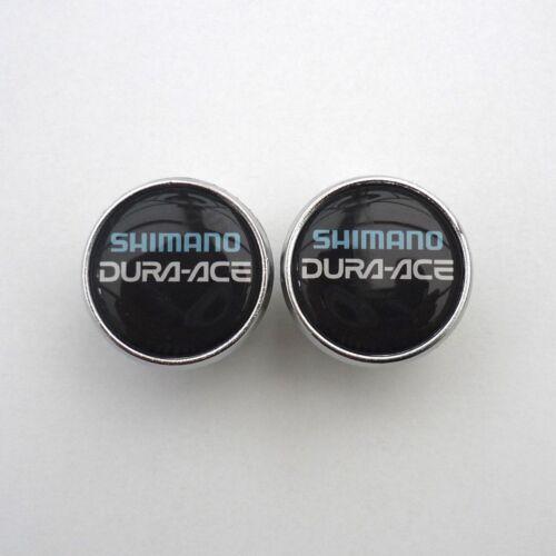 Chrome Racing Bar Plugs Repro Vintage Style Shimano Caps Dura Ace on Black