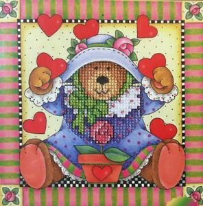 Simplicities-by-Janlynn-Teddy-Bear-cross-stitch-kit-140-205-printed-mat-NEW