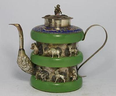 CHINESE OLD Handwork JADE TIBET-SILVER Copper TEA POT MONKEY lid V