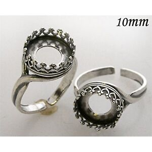 2500290SH 4pcs x Quality Cast 10mm Sterling Silver 925 Filigree Round Bezel Cup for Settings Flat Back Cabochon