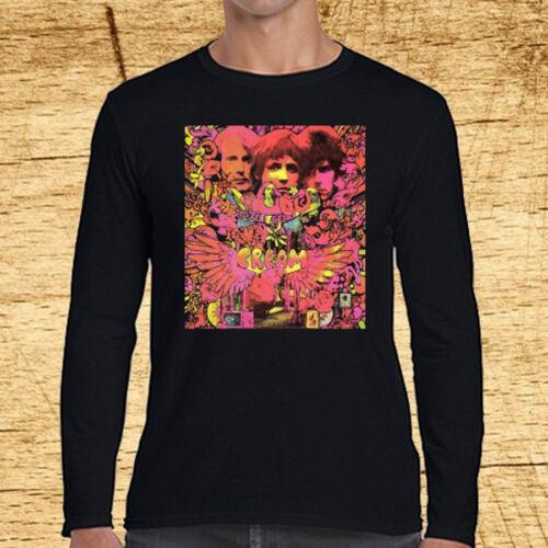 Cream Disraeli Gears Album Logo Long Sleeve Black T-Shirt Size S to 3XL