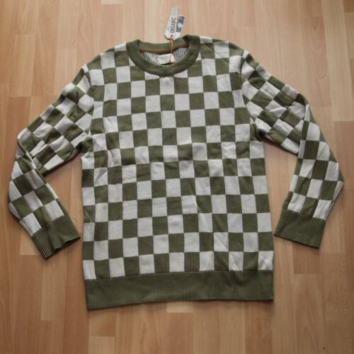 NUOVO Nudie Jeans Knitted Pullover Maglione Elof Checkers Beech GREEN M