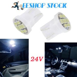 Ampoule-led-T10-W5W-24V-5Pcs-194-194-1250-veilleuse-plaque-plafond-8SMD-Blanc