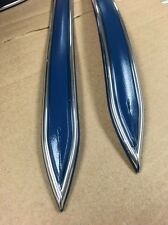 """Vintage type 7/8 """" Dark Blue with Chrome body side molding formed pointed ends"""