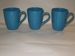 3-Dansk-Teal-Blue-10-oz-Coffee-Mugs-Cups
